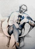 Autoritratto triste - Costantino Canonico - matite colorate