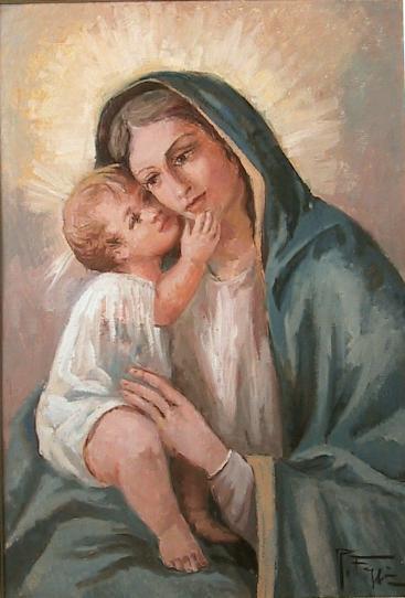Madonna col bambino - remo faggi - Olio