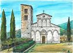 Pieve romanica di San Giovanni Battista a Santa Maria del Giudice Lucca - silvia diana - China e acquerello - 200 €