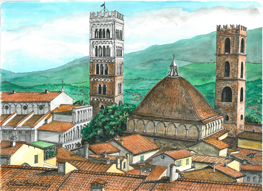 Lucca my love - silvia diana - China e acquerello - 200 €