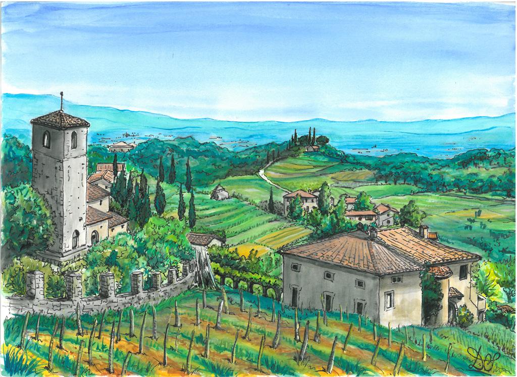 Paesaggio a Pozzuolo (Lucca) - silvia diana - China e acquerello - 100 €