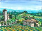 Paesaggio a Pozzuolo (Lucca) - silvia diana - China e acquerello - 100€ - Venduto!