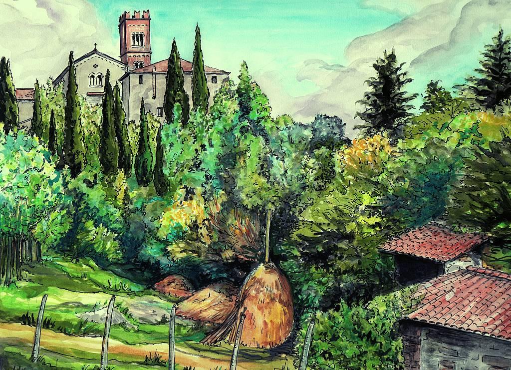 San Pancrazio (Lucca) - silvia diana - China e acquerello - 250 €