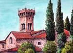 Pieve di S. Giovanni Battista a Pieve S. Paolo (Lucca) - silvia diana - China e acquerello - 200 €