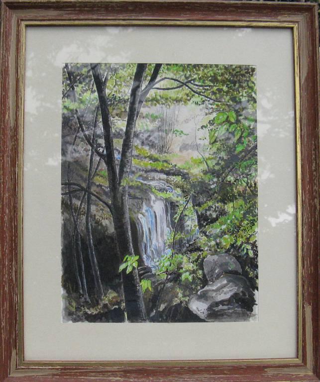Cascata nel bosco - silvia diana - China e acquerello - 350 €