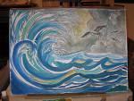 Tempesta - silvia diana - Acquerello / studio per pannello ceramico o murale