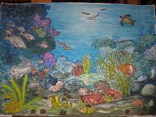 Curiosando sul fondo - silvia diana - Acquerello/ studio per pannello ceramico o murale