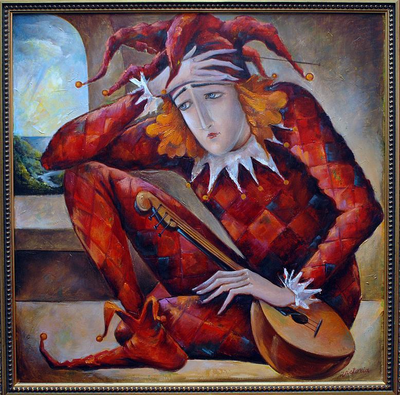 """Arlecchino""(dal ciclo ""I Giullari"") - BubArt Studio - Olio"