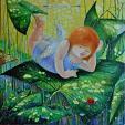 """Coccinella"" dal ciclo ""Angeli e Santi"" - Viktoriya Bubnova - olio, tela, stucchi"