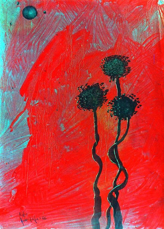 fiori con luna nera - daniele rallo - tecnica mista - 350 €