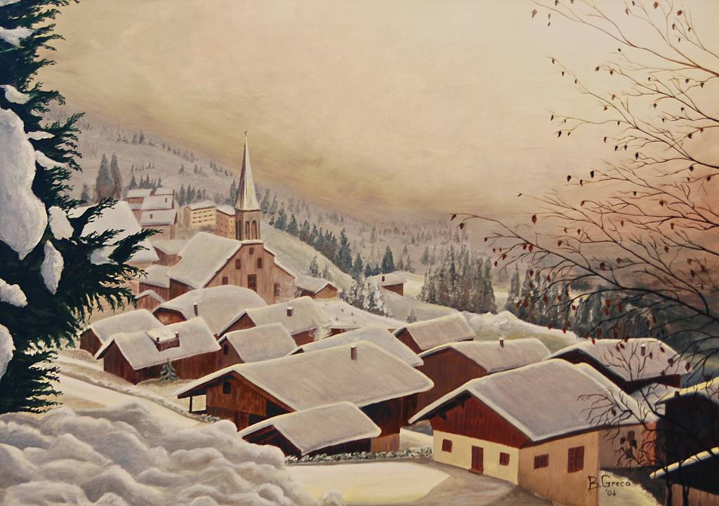 Rosato chiarore su paesaggio invernale - GRECO Bruno - Olio