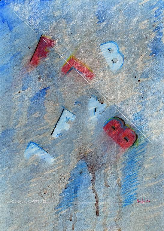 lettere in rosso - daniele rallo - tecnica mista - 100 €