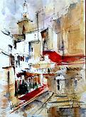 I tetti rossi di Valencia - Guido Ferrari - Acquerello - 370€