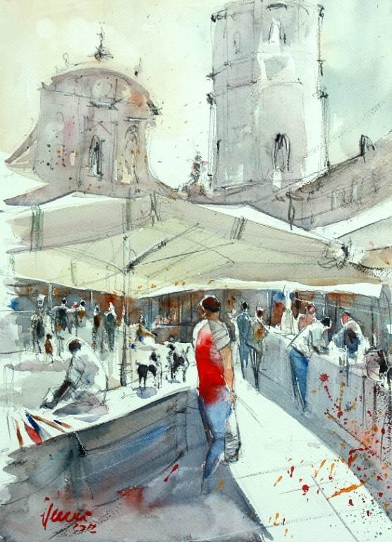 Piazza San Prospero - Guido Ferrari - Acquerello - 370 €