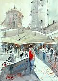 Piazza San Prospero - Guido Ferrari - Acquerello - 370€