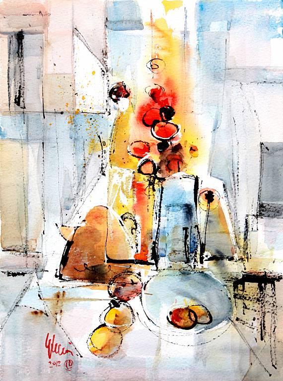 Breakfast con fiori rossi - Guido Ferrari - acquarello e inchiostro - 390 €