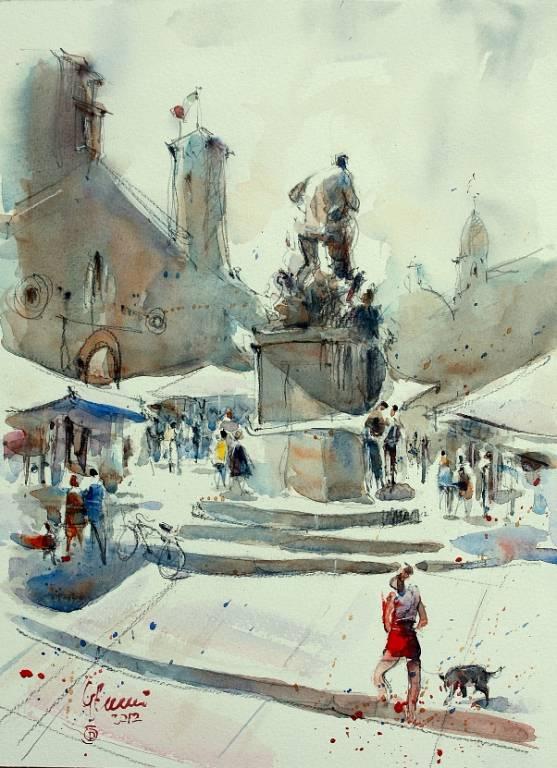 Piazza Prampolini - Guido Ferrari - Acquerello - 390 €