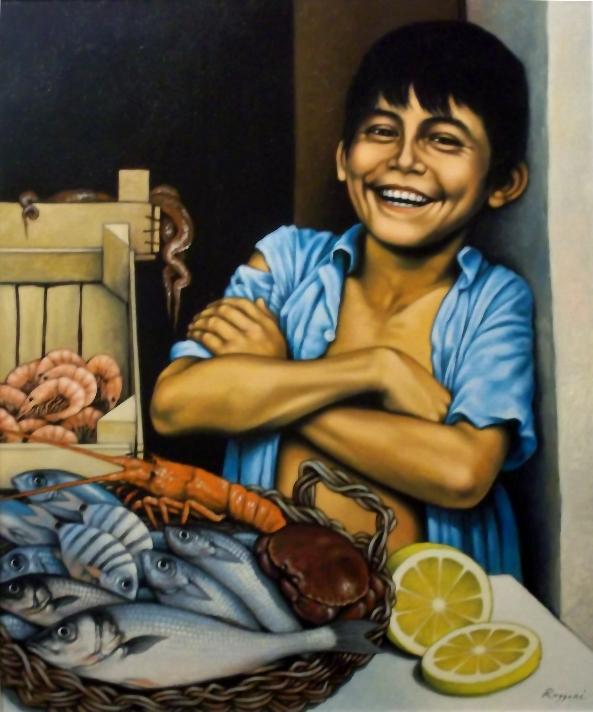 Giovane e allegro pescivendolo - Salvatore Ruggeri - Olio