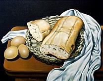 Cestino con pane, uova e drappo bianco - Salvatore Ruggeri - Olio