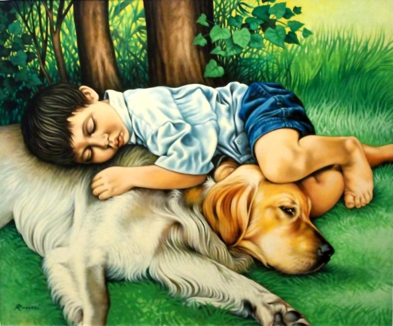 Riposo sull'erba (bambino con cane) - Salvatore Ruggeri - Olio