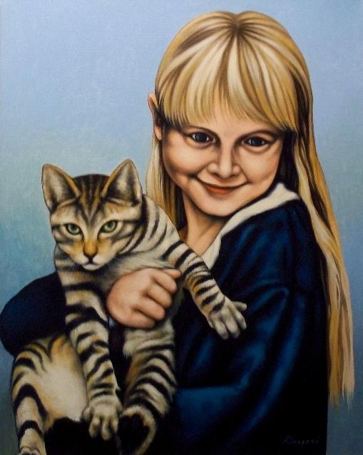 Bambina con gatto - Salvatore Ruggeri - Olio