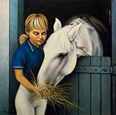 Giovane cavallerizza e il suo cavallo - Salvatore Ruggeri - Olio
