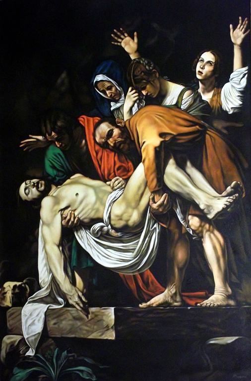 Copia d'autore da Caravaggio: Deposizione - Salvatore Ruggeri - Olio