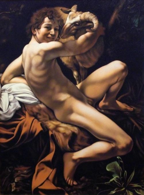 Copia d'autore da Caravaggio: San Giovanni Battista - Salvatore Ruggeri - Olio