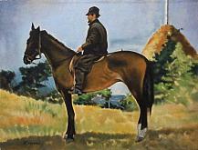 Copia d'autore da Giovanni Fattori: Diego Martelli a cavallo - Salvatore Ruggeri - Olio