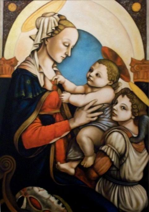 Copia d'autore da Sandro Botticelli: Madonna con bambino - Salvatore Ruggeri - Olio