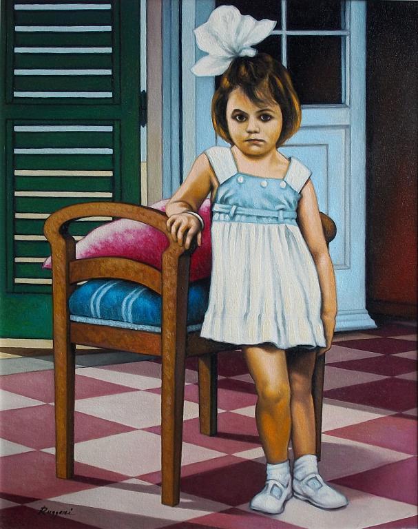 Bambina con fiocco bianco - Salvatore Ruggeri - Olio