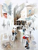 L'ombrellino rosso - Guido Ferrari - Acquerello - 440€