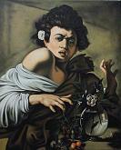 Copia d'autore da Caravaggio: Ragazzo morso da un ramarro - Salvatore Ruggeri - Olio