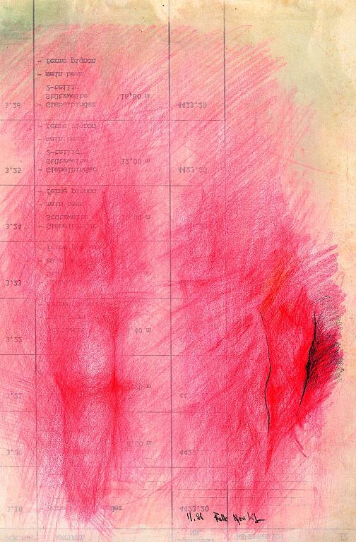 dorso in rosso - daniele Rallo  - pastello - 100 €