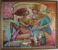 """""""La coppa dell' amore"""" - Viktoriya Bubnova - Opera realizzata in tecnica mista ,olio,mediante l'utilizzo di colori acrilici , olii e metallici , paste acriliche, inserti .swarovski"""