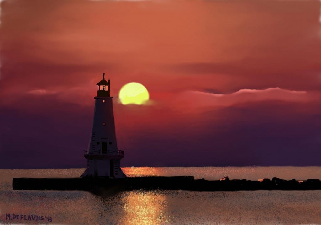 il faro  al tramonto - Michele De Flaviis - Digital Art