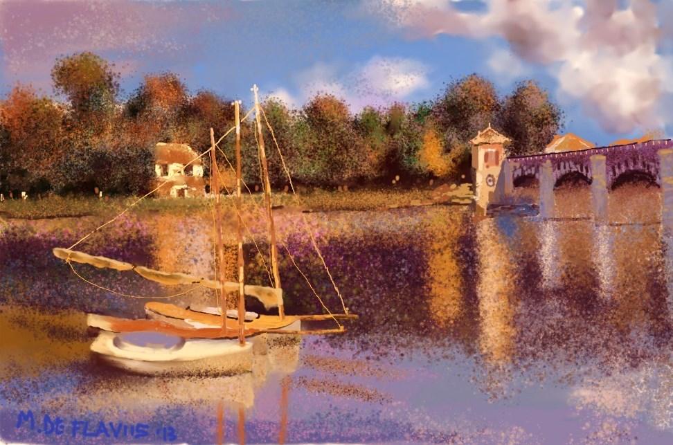 Copia C. Monet (Le pont d'Argenteuil) - Michele De Flaviis - Digital Art - 150 €