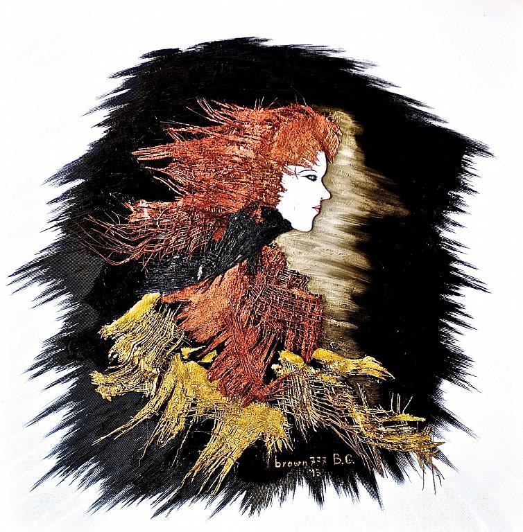 La ragazza del vento - GRECO Bruno - Acrilico e corteccia di palma e sughero
