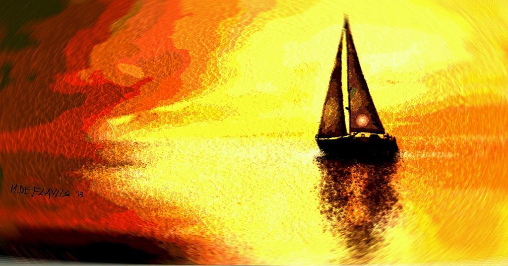 Barca solitaria - Michele De Flaviis - Digital Art - 70 €