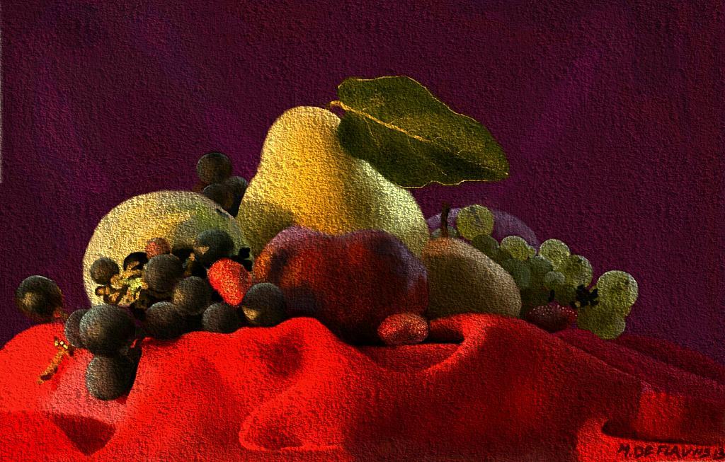 Frutta su telo rosso - Michele De Flaviis - Digital Art