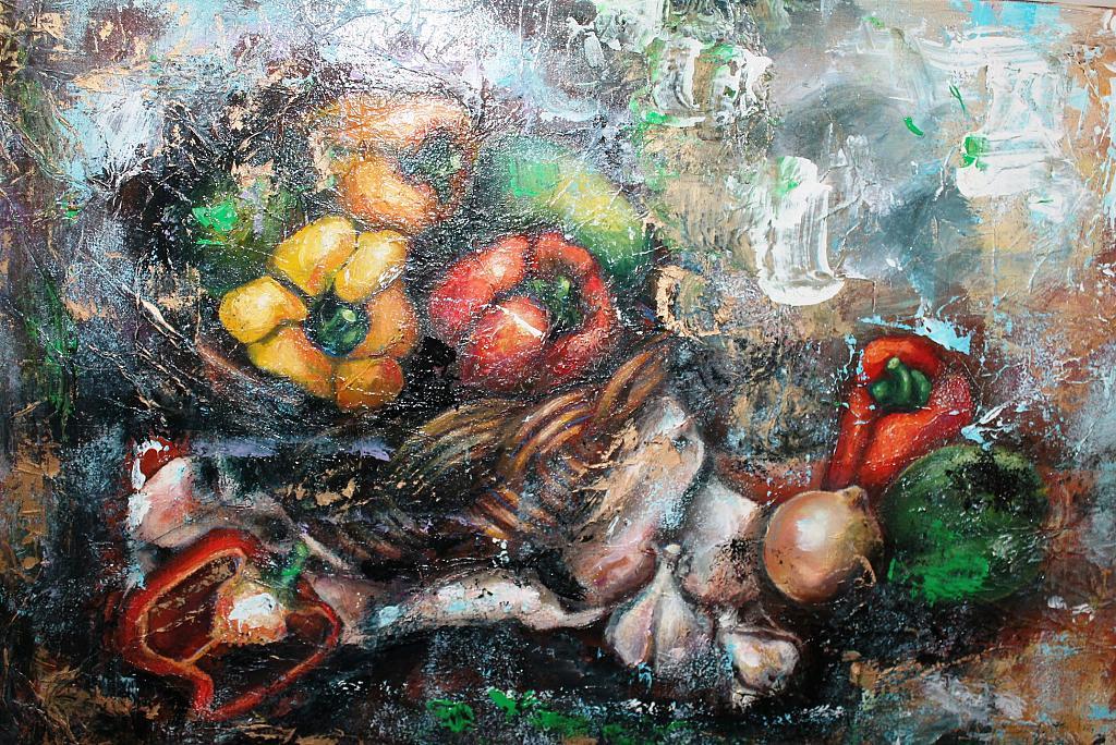 Natura morta con peperoni - tiziana marra - tecnica mista
