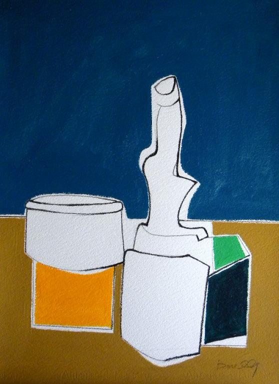 Bottiglia e altri oggetti su di un tavolo - Gabriele Donelli - Acrilico - 400 €