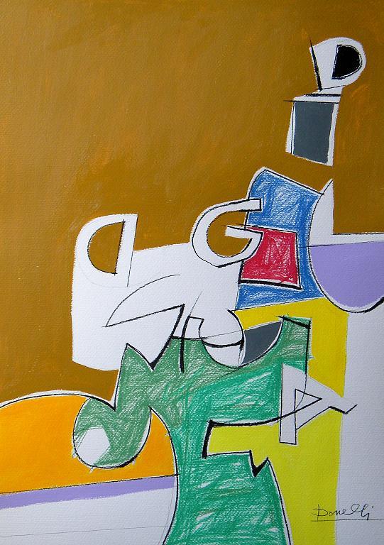 Spazio e oggetti in una struttura metafisica - Gabriele Donelli - Pastelli e acrilico - 300 €