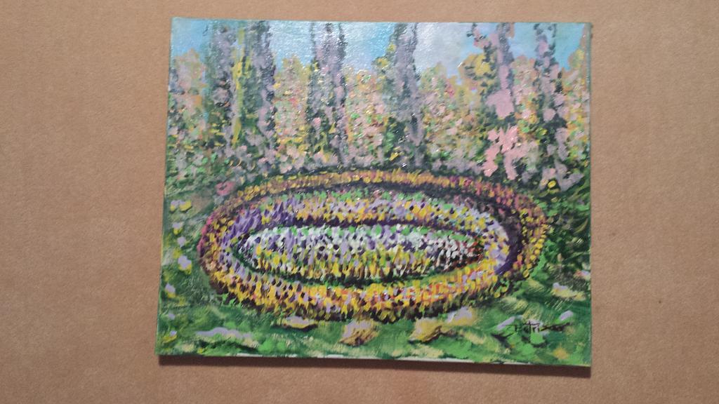 Aiuola fiorita - Carlo Bertani - Betrix - Acrilico