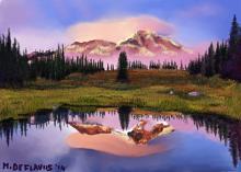 Laghetto di montagna al tramonto - Michele De Flaviis - Digital Art