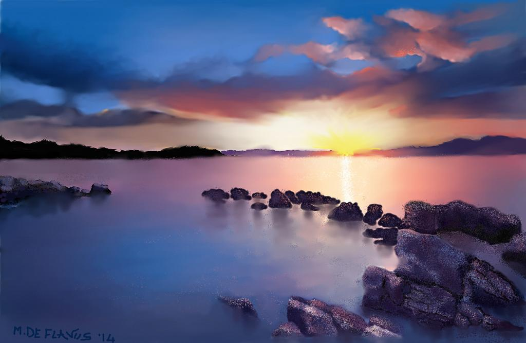 Scogli al tramonto - Michele De Flaviis - Digital Art