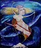 """Inno dei Capricorno"" ciclo "" Segni Zodiacali"" - Viktoriya Bubnova - olio, foglie d'oro, stucco"