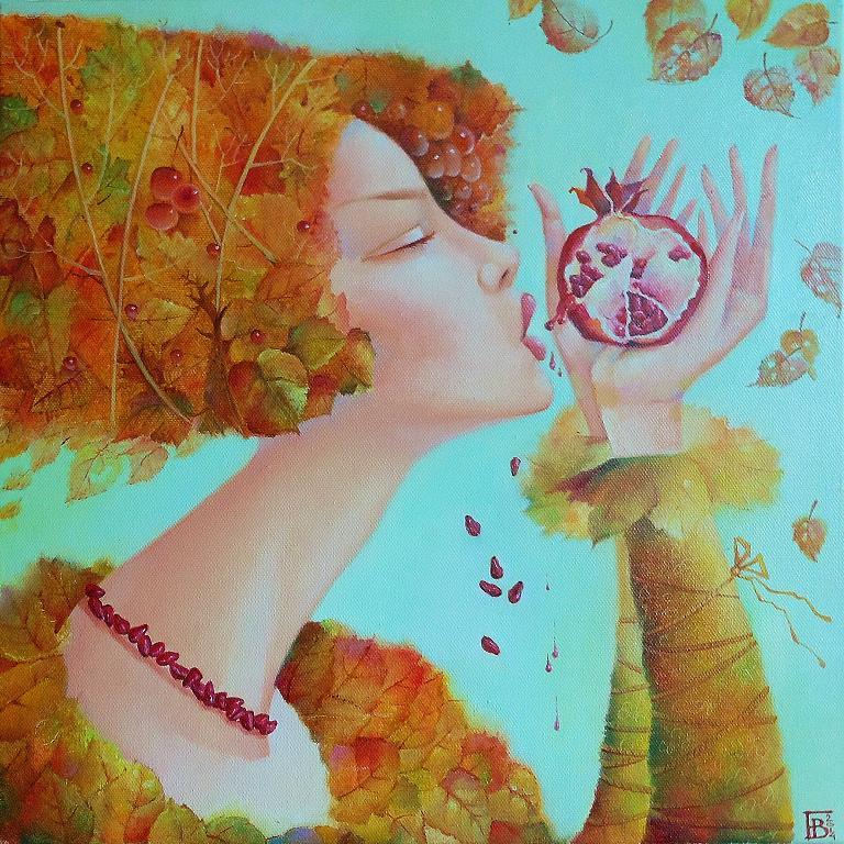 """Autunno.Elisir di melograno"" ciclo ""Stagioni"" - Viktoriya Bubnova - Olio"