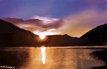 Lago di Scanno al tramonto - Michele De Flaviis - Digital Art
