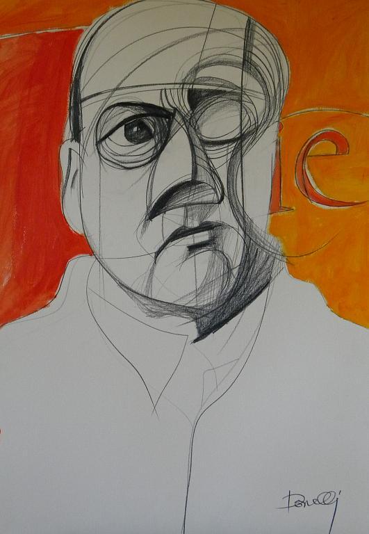 Ritratto di Dino Campana - Gabriele Donelli - Matita e acrilico - 400 €